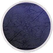 Branching Out In Blue Round Beach Towel