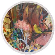 Round Beach Towel featuring the painting Breath Of Cooler Air by Robin Maria Pedrero