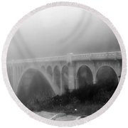 Bridge In Fog Round Beach Towel