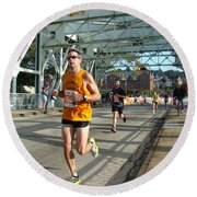 Round Beach Towel featuring the photograph Bridge Runner by Alice Gipson