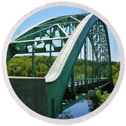 Round Beach Towel featuring the photograph Bridge Spanning Connecticut River by Sherman Perry