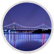 Tri-borough Bridge In Nyc Round Beach Towel