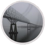 Bridge To Nowhere Round Beach Towel by Shelley Neff