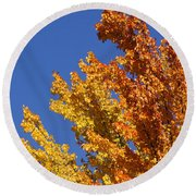 Brilliant Fall Color And Deep Blue Sky Round Beach Towel by Mick Anderson