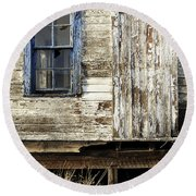 Round Beach Towel featuring the photograph Broken Window by Fran Riley