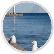 Bronte Lighthouse Gulls Round Beach Towel