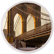 Round Beach Towel featuring the photograph Brooklyn Bridge - New York by Luciano Mortula