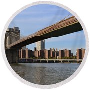 Brooklyn Bridge1 Round Beach Towel by Zawhaus Photography