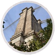 Brooklyn Bridge2 Round Beach Towel by Zawhaus Photography