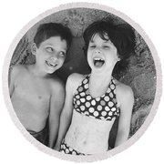 Brother And Sister On Beach Round Beach Towel