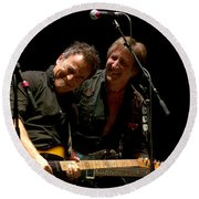 Bruce Springsteen And Danny Gochnour Round Beach Towel
