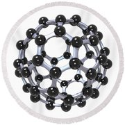Buckminsterfullerene Or Buckyball C60 18 Round Beach Towel by Russell Kightley