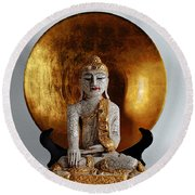 Buddha Girl Round Beach Towel