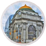 Round Beach Towel featuring the photograph Buffalo Savings Bank  Goldome  M And T Bank Branch by Michael Frank Jr