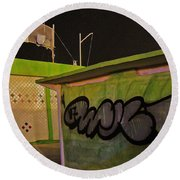 Round Beach Towel featuring the photograph Building 31 Rimini Beach Graffiti by Andy Prendy