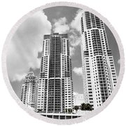 Buildings Downtown Miami Round Beach Towel
