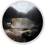 Round Beach Towel featuring the photograph Bull Elk In Front Of Waterfall by Dan Friend