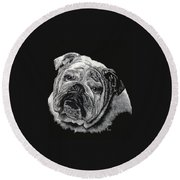 Bulldog Round Beach Towel