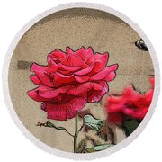 Bumble Bee And Rose Round Beach Towel
