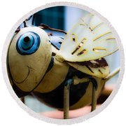 Bumble Bee Of Happiness Metal Sculpture Round Beach Towel