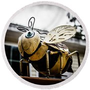 Bumble Bee Of Happiness Metal Statue Round Beach Towel