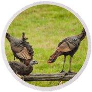 Bunch Of Turkeys Round Beach Towel by Cheryl Baxter