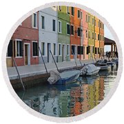Round Beach Towel featuring the photograph Burano Canal by Rebecca Margraf