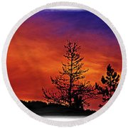 Round Beach Towel featuring the photograph Burning Sunrise by Janie Johnson