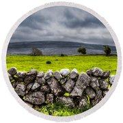 Burren Stones Round Beach Towel by Juergen Klust