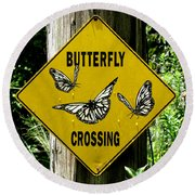 Butterfly Crossing Round Beach Towel