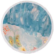 Round Beach Towel featuring the painting Butterfly Flight by Sonali Gangane