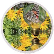 Butterfly In A Bulb II - Landscape Round Beach Towel