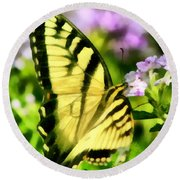 Round Beach Towel featuring the painting Butterfly by Lynne Jenkins