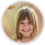 Butterfly Smile Round Beach Towel