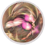 By The Brook - Abstract Art Round Beach Towel