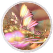 By The Field - Abstract Art Round Beach Towel