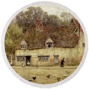 By The Old Cottage Round Beach Towel by Helen Allingham