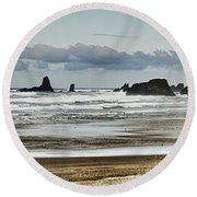 By The Sea - Seaside Oregon State  Round Beach Towel by James Heckt