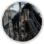 Round Beach Towel featuring the photograph Cabin Get Away by Tikvah's Hope