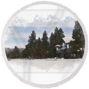 Cabin In Snow With Mountains In Background Round Beach Towel
