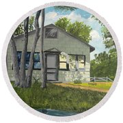 Cabin Up North Round Beach Towel