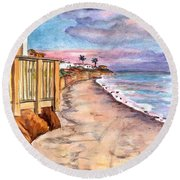 Round Beach Towel featuring the painting California Coast by Clara Sue Beym