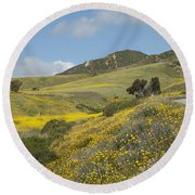 California Hillside View I Round Beach Towel