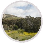 California Hillside View IIi Round Beach Towel