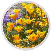 Round Beach Towel featuring the photograph California Poppies by Carla Parris