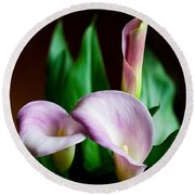 Round Beach Towel featuring the photograph Calla Lily by Barbara McMahon