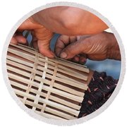 Round Beach Towel featuring the photograph Cambodian Basket Weaver by Nola Lee Kelsey