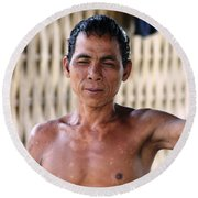 Round Beach Towel featuring the photograph Cambodian Dignity by Nola Lee Kelsey