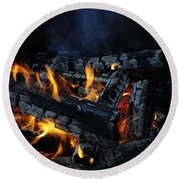Round Beach Towel featuring the photograph Campfire by Fran Riley