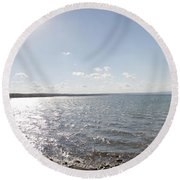 Round Beach Towel featuring the photograph Canandaigua Lake Panorama by William Norton